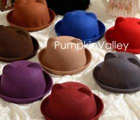 9 colors Lady cute wool blends cat's ear Autumn/winter warm hat